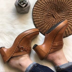 Frye Tan Leather Clog Heels